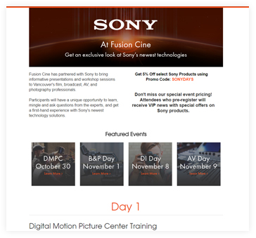Sony Days Landing Page